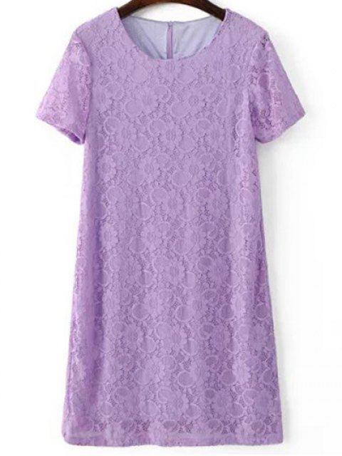 shops Short Sleeve Lace Shift Dress - LIGHT PURPLE S Mobile