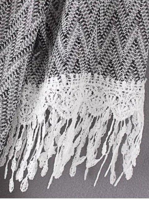 fashion Cold Shoulder Round Neck Zig Zag Print Dress - BLACK L Mobile
