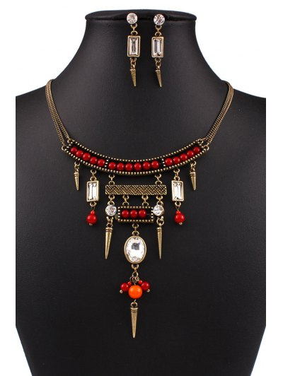 Bullet Bead Ethnic Necklace and Earrings - GOLDEN  Mobile