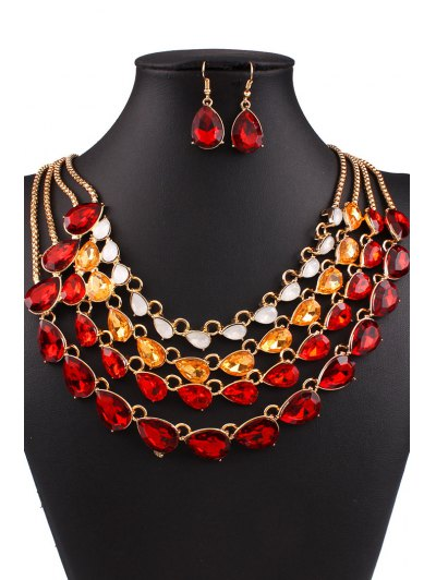 Multilayered Jewelry Necklace and Earrings - RED  Mobile