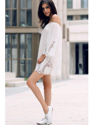 Off-The-Shoulder Lace Trim Dress - WHITE L Mobile
