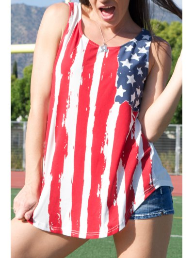 American Flag Print Patriotic Scoop Tank Top - Red With White