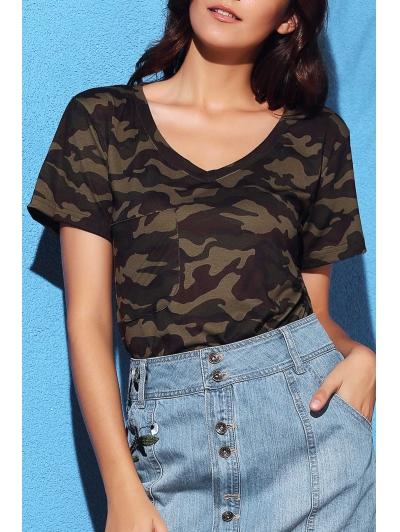 V Neck Short Sleeve Camo Print T Shirt