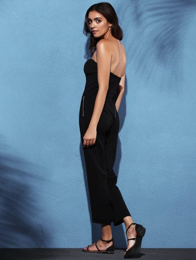 Zippered Fitted Bandeau Jumpsuit - BLACK L Mobile
