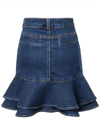 Contrast-Stitch Denim Mermaid Skirt - BLUE L Mobile