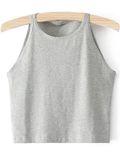 Cropped Ribbed Tank Top - Light Gray