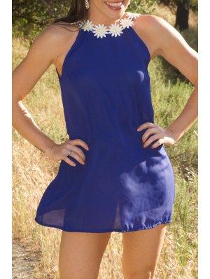 Daisy Strap Low Back Sun Dress - Purplish Blue