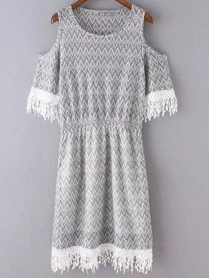 Cold Shoulder Round Neck Zig Zag Print Dress - Light Gray