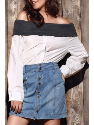 Loose Hit Color Long Sleeve Off The Shoulder Shirt - White