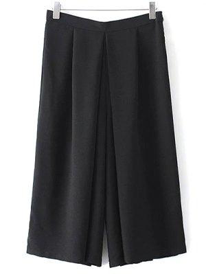 Wide Leg Black Skorts - Black