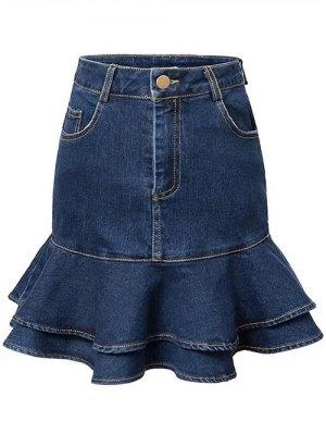 Contrast-Stitch Denim Mermaid Skirt - Blue