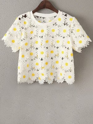 Daisy Pattern Embroidery Round Neck Short Sleeve T-Shirt - White