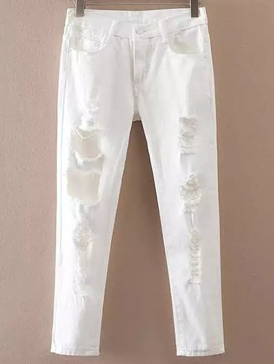 Casual Pockets Ripped White Jeans