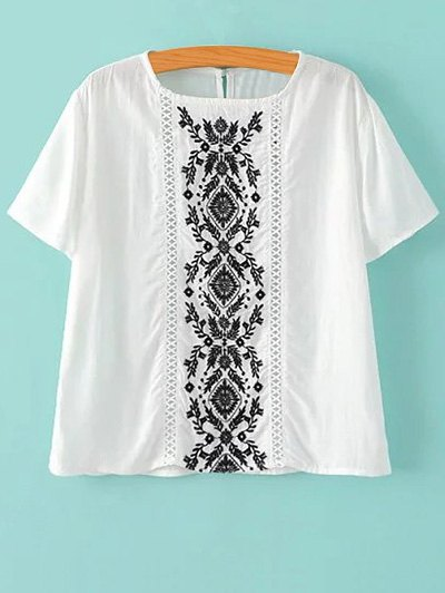 Short Sleeve Embroidered White T-Shirt