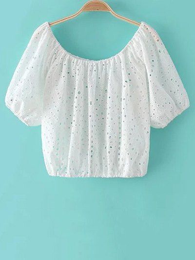 Hollow Out Scoop Neck Half Sleeve White Top