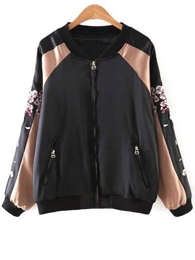 Deer Embroidery Stand Neck Long Sleeve JacketClothes<br><br><br>Size: L<br>Color: BLACK