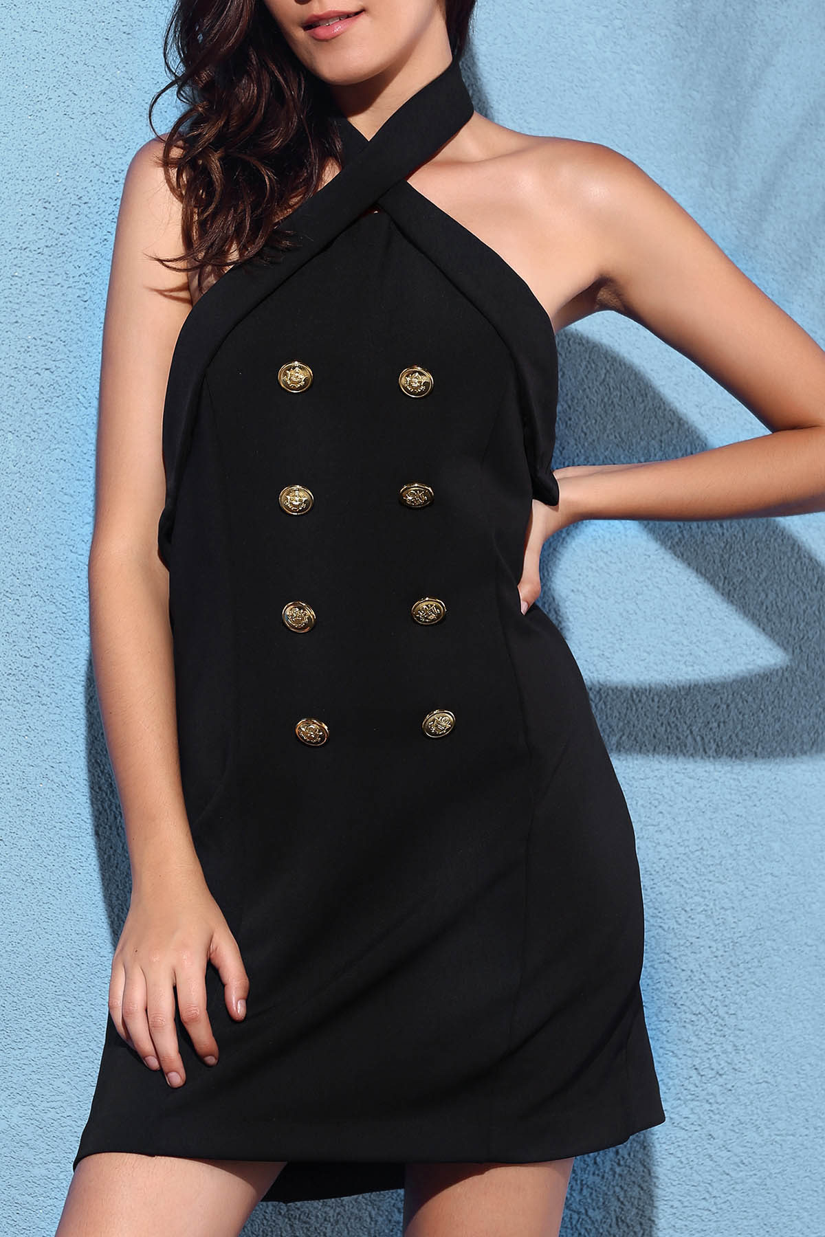 Cross Halter Sleeveless Backless Solid Color Dress