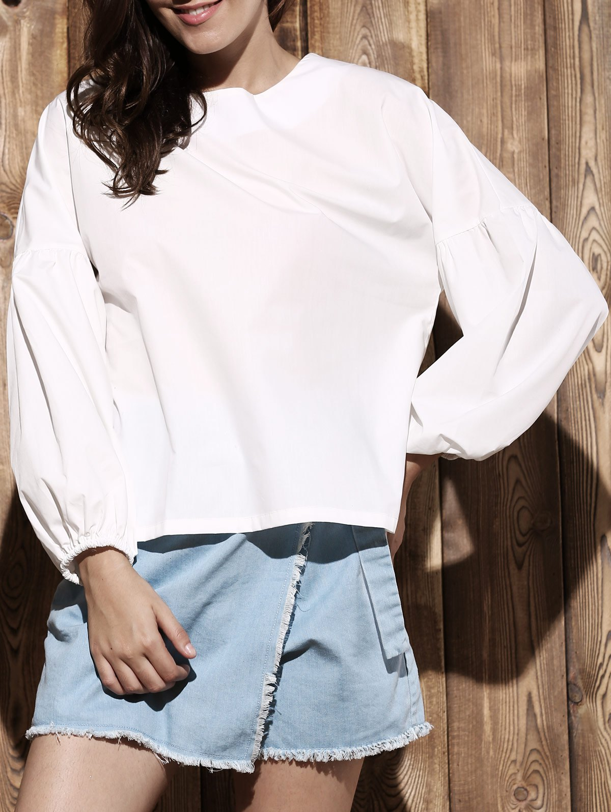 Puff Sleeve Round Collar Solid Color BlouseClothes<br><br><br>Size: XL<br>Color: WHITE