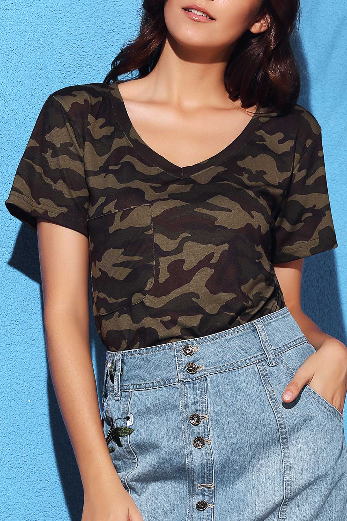 Short Sleeve Camo T-ShirtClothes<br><br><br>Size: XL<br>Color: CAMOUFLAGE