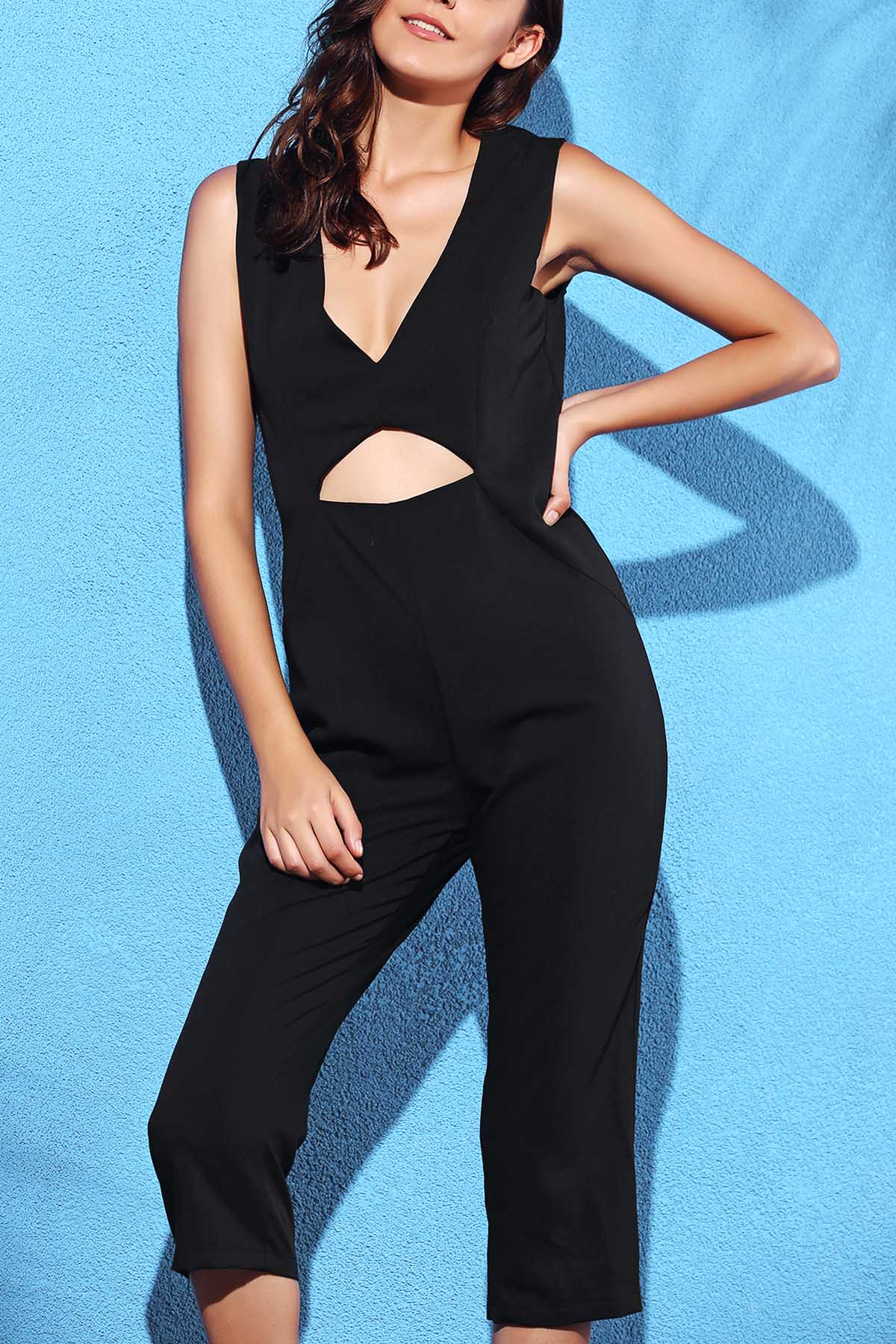 Plunging Neck Sleeveless Black Hollow Jumpsuit