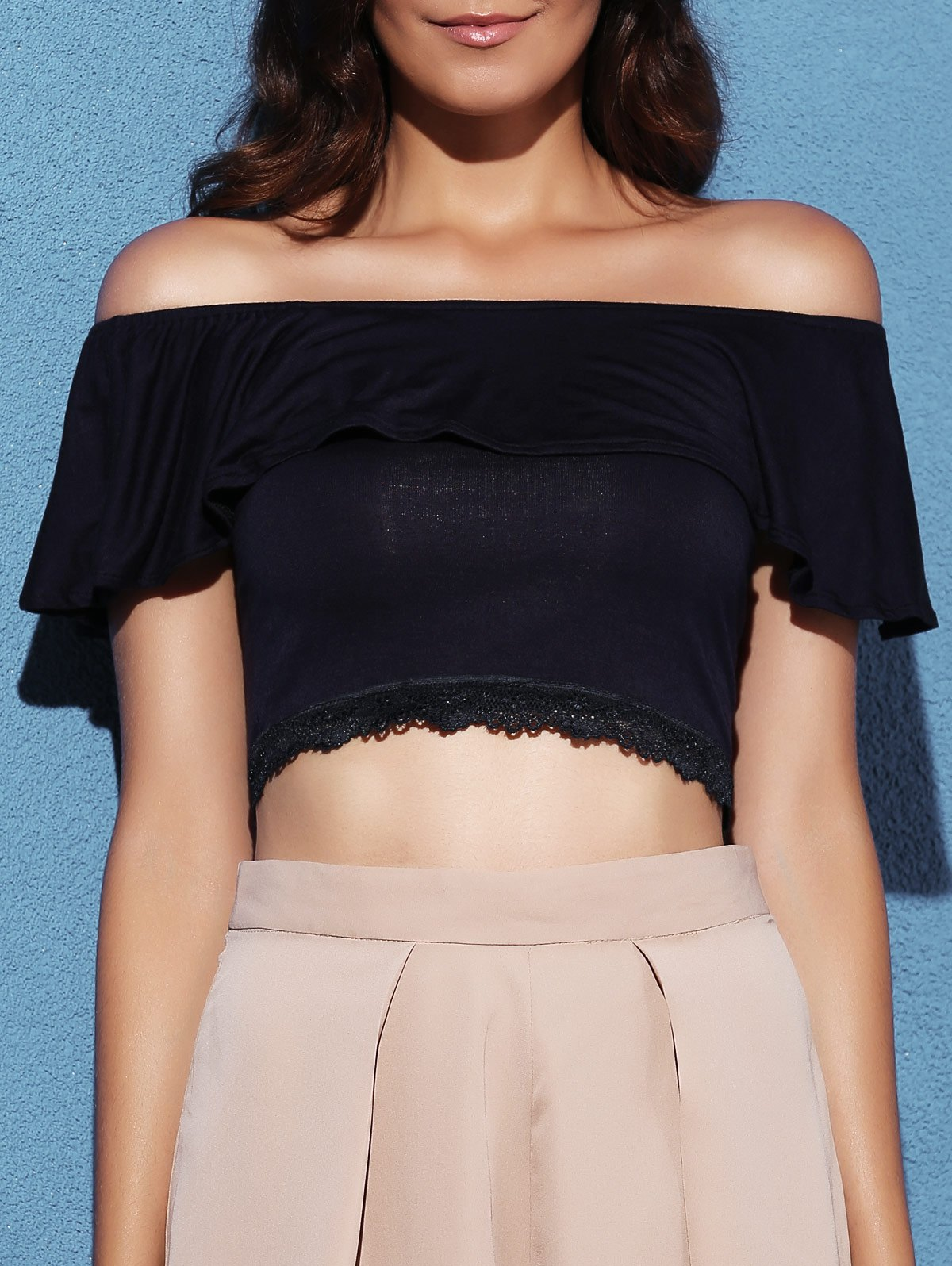 Off The Shoulder Lace Splicing Short Sleeve Crop Top 174406004