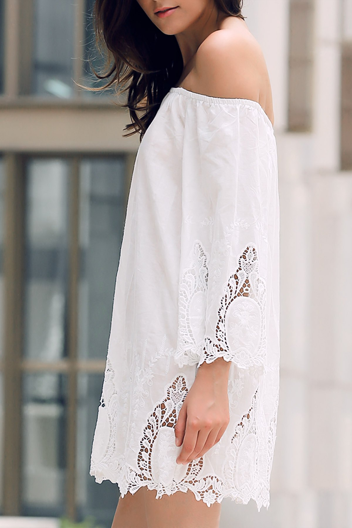 Off-The-Shoulder Lace Trim White Dress