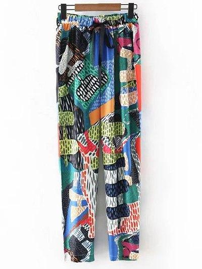 High Waist Colorful Printed Narrow Feet Pants