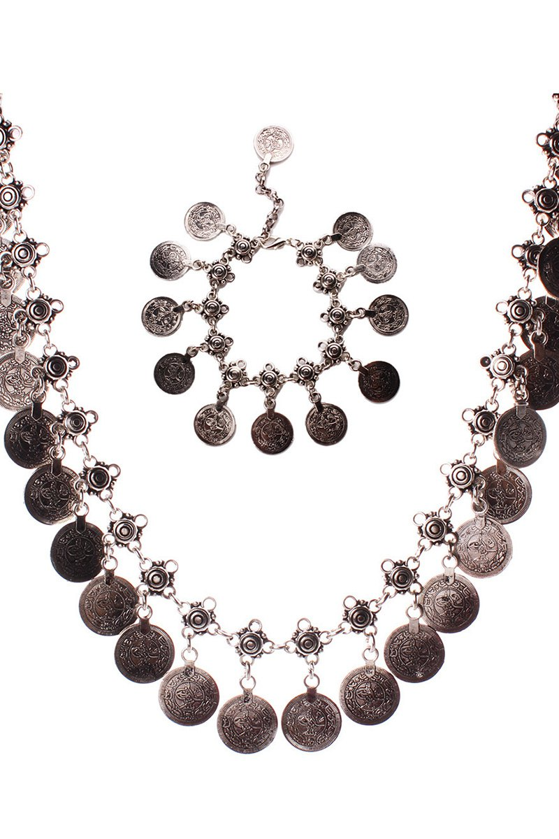 Round Coin Statement Necklace and Wrist ChainAccessories<br><br><br>Color: SILVER
