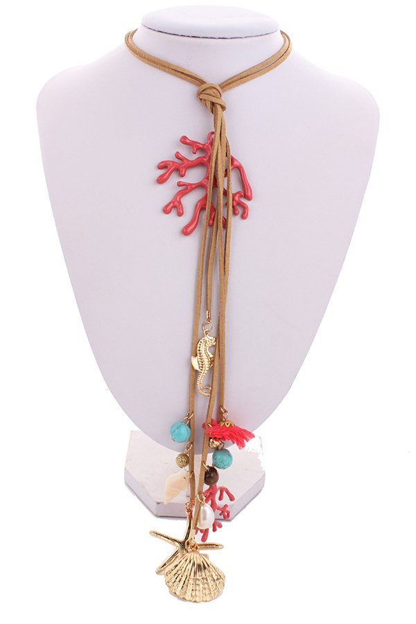 Coral Starfish Shell Pendant Rope Necklace For Women