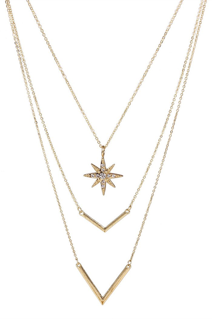Sun Letter V Pendant Multilayered Necklace For Women
