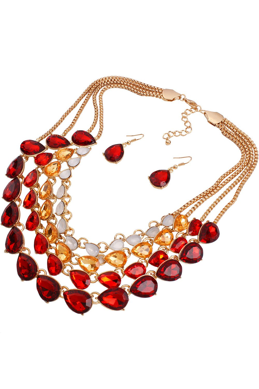 Multilayered Jewelry Necklace and Earrings
