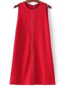 Sleeveless A-Line Dress - Red