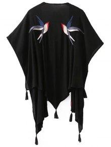 Bird Embroidered Kimono Blouse
