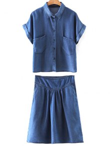 Pockets Shirt Collar Short Sleeve T-Shirt And Folded High Waist A-Line Denim Skirt - Blue