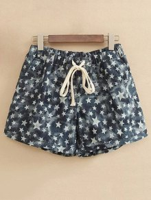 Pentagram Print Drawstring Shorts