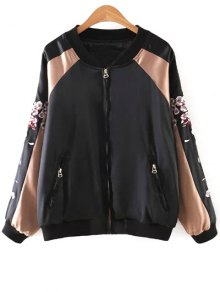 Deer Embroidery Stand Neck Long Sleeve Jacket - Black S