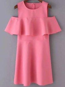 Cutout Shoulder Ruffles Sundress - Peach Pink S