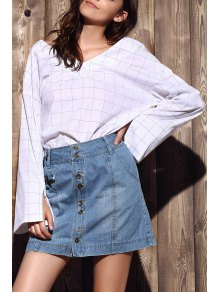Checked High-Low V Neck Flare Sleeve Blouse