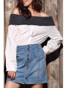 Loose Hit Color Long Sleeve Off The Shoulder Shirt