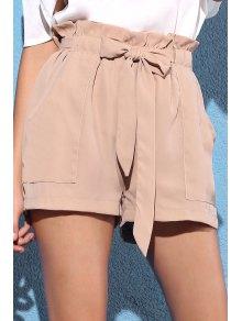 Pocket And Bowknot Design Chiffon Shorts - Nude