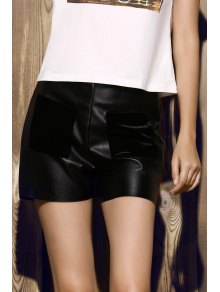 Buy PU Leather Shorts - BLACK L