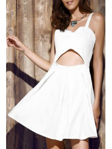 Bare Midriff Strap Dress - White L
