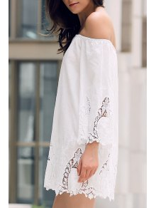 Off-The-Shoulder Lace Trim Dress - White