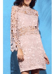 Flare Sleeve Guipure Lace Pink Dress - Nude 2xl