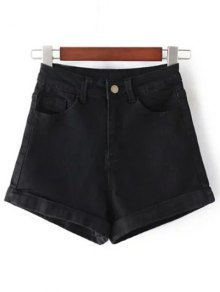 High-Rise Denim Shorts - Black