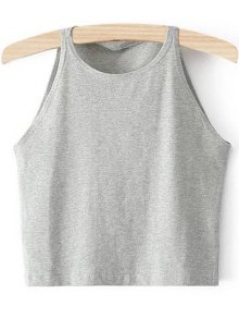 Cropped Ribbed Tank Top - Light Gray M