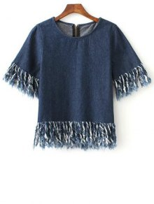 Zip Back Fringed Denim T-Shirt - Blue L
