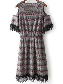 Cold Shoulder Round Neck Zig Zag Print Dress