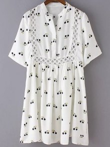 Cherry Print Stand Neck 3/4 Sleeve Dress