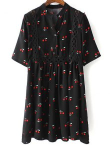Cherry Print Stand Neck 3/4 Sleeve Dress - Black L